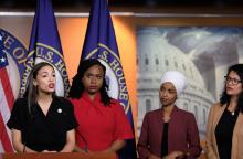 Congresswomen Ocasio-Cortez, Tlaib, Omar, And Pressley Hold News Conference After President Trump Attacks Them On TwitterWASHINGTON, DC - JULY 15: (L-R) U.S. Rep. Alexandria Ocasio-Cortez (D-NY) speaks as Reps. Ayanna Pressley (D-MA), Ilhan Omar (D-MN) and Rashida Tlaib (D-MI) listen during a news conference at the U.S. Capitol on July 15, 2019 in Washington, DC. (Photo by Alex Wroblewski/Getty Images)