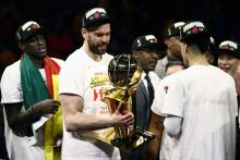Marc Gasol #33 of the Toronto Raptors celebrates with the Larry O'Brien Championship Trophy after his team defeated the Golden State Warriors to win Game Six of the 2019 NBA Finals at ORACLE Arena on June 13, 2019 in Oakland, California. (Photo by Ezra Shaw/Getty Images)