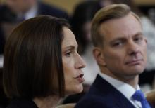 Fiona Hill (L), the National Security Council's former senior director for Europe and Russia, and David Holmes (R), an official from the American embassy in Ukraine, testify before the House Intelligence Committee in the Longworth House Office Building on Capitol Hill November 21, 2019 in Washington, DC. Photo: Win McNamee/Getty Images.