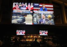 News from the Iowa caucus is broadcast on televisions in a hotel lobby bar on Capitol Hill on February 3, 2020 in Washington, DC. Photo: Mario Tama/Getty Images.