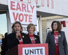 Culinary Workers Union Local 226 Secretary-Treasurer Geoconda Arguello-Kline, U.S. Sen. Catherine Cortez Masto (D-NV) and U.S. Rep. Susie Lee (D-NV) speak at an early vote launch on the first day of early voting for the upcoming Nevada Democratic presidential caucus at the Culinary Workers Union Hall Local 226 on February 15, 2020 in Las Vegas, Nevada. Photo: Ethan Miller/Getty Images.