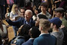 Democratic presidential candidate former Vice President Joe Biden takes selfies with guests during a campaign rally at Coastal Carolina University on February 27, 2020 in Conway, South Carolina. Photo: Scott Olson/Getty Images.