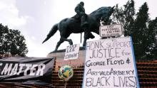 The parks that hold these statues were the sites of impassioned demonstrations against police brutality last summer. Photo: Eze Amos/Getty Images