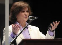 Secretary of State Nellie M. Gorbea before giving the oath of office to the State Representatives at Veterans Memorial Auditorium in Providence, RI on Jan. 5, 2021. Photo:Matthew J. Lee/The Boston Globe via Getty Images