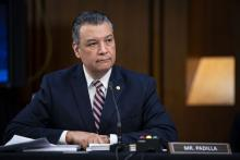 Senator Alex Padilla calls for the EPA and Department of Justice to stand up for BIPOC communities. Photo: Al Drago/EFE