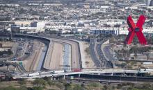 UNITED STATES - APRIL 9: Trucks and cars cross over the Rio Grande and U.S. Mexico border on the Bridge of the Americas in El Paso, Texas on Friday, April 9, 2021. (Photo By Bill Clark/CQ-Roll Call, Inc via Getty Images)