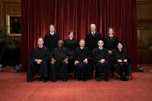 Members of the Supreme Court pose for a group photo at the Supreme Court in Washington, DC on April 23, 2021. Photo: Getty Images.