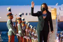 US Vice President Kamala Harris waves upon arrival at the Aeropuerto Internacional La Aurora in Guatemala City on June 6, 2021. - US Vice President Kamala Harris will visit Guatemala and Mexico this week, bringing a message of hope to a region hammered by Covid-19 and which is the source of most of the undocumented migrants seeking entry to the US. Photo: Jim Watson/AFP via Getty Images