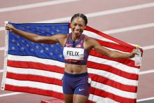 Bronze medalist Allyson Felix of Team USA celebrates after competing in the Women's 400m on day fourteen of the Tokyo 2020 Olympic Games at Olympic Stadium on August 06, 2021 in Tokyo, Japan. Photo:Fred Lee/Getty Images
