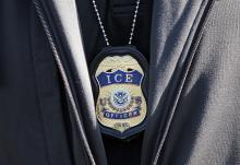 Photo: ICE agent badge on September 25, 2019 in Revere, Massachusetts. Matt Stone/MediaNews Group/Boston Herald via Getty Images
