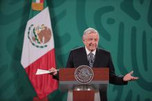 MEXICO CITY, MEXICO - MAY 05: Andres Manuel Lopez Obrador President of Mexico speaks during the daily briefing at Palacio Nacional on May 05, 2021 in Mexico City, Mexico. Photo: Hector Vivas/Getty Images