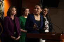 U.S. Rep. Alexandria Ocasio-Cortez (D-NY) (3rd L) speaks as (L-R) Rep. Angie Craig (D-MN), Speaker of the House Rep. Nancy Pelosi (D-CA) and Rep. Sara Jacobs (D-CA) listen during a news conference at the U.S. Capitol June 16, 2021 in Washington, DC. Photo: ALEX WONG/GETTY
