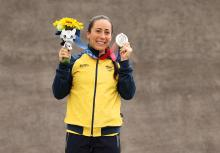Mariana Pajon of Team Colombia poses with the silver medal after the Women's BMX final on day seven of the Tokyo 2020 Olympic Games at Ariake Urban Sports Park on July 30, 2021 in Tokyo, Japan. Photo:Francois Nel/Getty Images