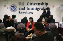 JANUARY 29: Immigrants wait for their citizenship interviews at the U.S. Citizenship and Immigration Services (USCIS), district office on January 29, 2013 in New York City. Some 118,000 immigrants applied for U.S. citizenship in the New York City dictrict in 2012. (Photo by John Moore/Getty Images)