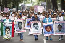 Family of 43 missing students from Ayotzinapa Normal school lead a protest, September 26, 2015 in Mexico City, Mexico. Photo: Brett Gundlock/Getty Images.