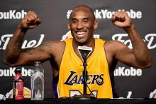 Kobe Bryant #24 of the Los Angeles Lakers smiles during the post game news conference after scoring 60 points in the final game of his NBA career at Staples Center on April 13, 2016 in Los Angeles, California. Photo: Harry How/Getty Images.