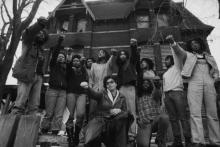 Members of MOVE revolutionary group in front of their house in the Powelton Village neighborhood of Philadelphia in 1978. Photo: Leif Scoogfors/Getty Images