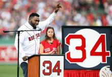 Former Boston Red Sox player David Ortiz #34 speaks during his jersey retirement ceremony before a game against the Los Angeles Angels of Anaheim at Fenway Park on June 23, 2017 in Boston, Massachusetts. Photo: Adam Glanzman/Getty Images.