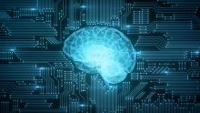Blue digital computer brain on circuit board with glows and flares - stock photo.