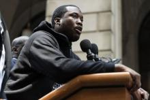 Rapper Meek Mill participates in a rally before he returns to court for a post-conviction appeal on June 18, 2018 in Philadelphia, Pennsylvania. (Photo by Jessica Kourkounis/Getty Images)