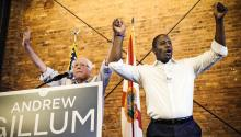 Sen. Bernie Sanders and Democratic gubernatorial hopeful Andrew Gillum during a campaign rally in Tampa, Florida, on August 17, 2018. Chris O'Meara/AP