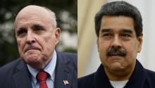 U.S. President's personal lawyer, Rudy Giuliani (left) is said to have tried to establish a back channel for negotiations with the leader of the Chavista regime in Venezuela, Nicolas Maduro (right). Source: Getty.