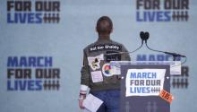 Emma Gonzalez, a survivor of the school shooting at Marjory Stoneman Douglas High School, concludes her remarks during the March For Our Lives in Washington, DC, USA, 24 March 2018. March For Our Lives student activists demand that their lives and safety become a priority, and an end to gun violence and mass shootings in our schools. EFE/EPA/SHAWN THEW