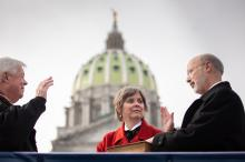 Governor Tom Wolf (right) with his wife, Frances Wolf (left) on stage at Pennsylvania's inauguration ceremony on Jan. 15th. Photo: PA Governor's Office.