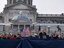 Governor Tom Wolf speaks at inauguration on Tuesday. Photo: David Maas/AL DIA News.