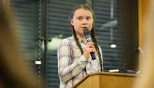 LONDON, ENGLAND - APRIL 23: Swedish environmental campaigner Greta Thunberg addresses politicians, media, and guests with the Houses of Parliament on April 23, 2019, in London, England. (Photo by Leon Neal/Getty Images)