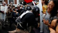 Violent clashes erupt at 'Unite the Right' rally in Charlottesville, Va. Photo: Reuters.