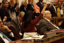 City Councilwoman Helen Gym celebrates passage of the Fair Workweek bill in early December. Photo: Sahar Coston-Hardy.