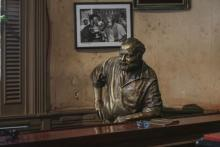 Bar with a bronze Hemingway commemorates the great writer. Photo Bilgin Sasmaz.
