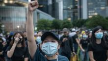 HONG KONG, CHINA - SEPTEMBER 02: Protesters take part in a school boycott rally at Tamer Park in Central district on September 2, 2019 in Hong Kong, China. (Photo by Chris McGrath/Getty Images)