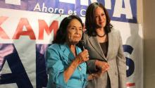 Senator Kamala Harris (D-CA) celebrates with activist Dolores Huerta during Hispanic Heritage Month. Sep. 2017. Source: Twitter.