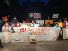 Workers on Strike. Photo via @StreetVendorProject #FundExcludedWorkers.