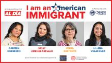 The four awardees for the I am an American Immigrant project.