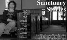 Flyer for event on Sanctuary Stories Multimedia Exhibit Fundraiser, at Puentes de Salud in South Philadelphia on July 5. Courtesy of Ariel Goodman