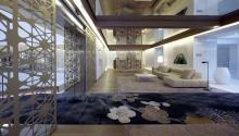 Interior del Mandarin Oriental Hotel, Barcelona, España, diseñado por PatriciaUrquiolaen 2010. Foto expuesta en el Museo de Arte de Filadelfia.