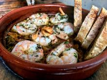 Gambas al ajillo, served at Amada. Image taken by Mónica Marie Zorrilla.