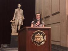 Miriam Enriquez, Director of Immigrant Affairs for the City of Philadelphia, accepting the La Justicia Award. Photo Credit: Sandra Rodriguez/AL DÍA News