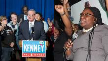 Both Mayor Jim Kenney and at-large third party candidate Kendra Brooks claimed victory on Nov. 5. Photos: LEFT: Charles Fox/The Philadelphia Inquirer. RIGHT: Emily Neil/AL DÍA News.