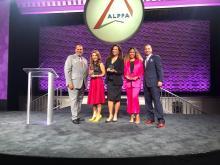 Lili Gil Valletta, Claudia RomoEdelman, and Yari Blanco were each awarded for their trailblazing work in building more Latina leaders. Also pictured: Daniel Villao, Board of Directors chair for ALPFA & Damian Rivera, CEO of ALPFA. Photo Courtesy ofMartin Alfaro