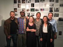 From left to right: Tom Laffay, Hector Marino Carabalí, Emily Wright, Daniel Bustos Echeverry, and Slought's Gwynne Fulton and Aaron Levy