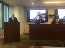 The Honorable Judge Felipe Restrepo moderates panel with Jacqueline Romero, Ross Thompson, et al. Photo: Jensen Toussaint