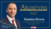 Damian Rivera, CEO of Association of Latino Professionals for America (ALPFA), will be a 2021 Ambassador Manuel Torres Award recipient. Graphic: Maybeth Peralta/AL DÍANews.