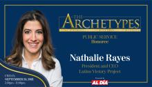 Nathalie Rayes, President & CEO of the Latino Victory Project,will be a 2021 Ambassador Manuel Torres Award recipient. Graphic: Maybeth Peralta/AL DÍANews.