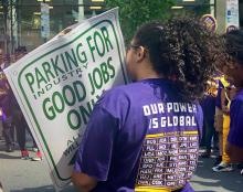 In the era of full-time jobs that don't pay the bills, 400 parking workers took to the streets of Philadelphia to protest working conditions and the minimum wage. Photo: AL DÍA News / Michelle Myers