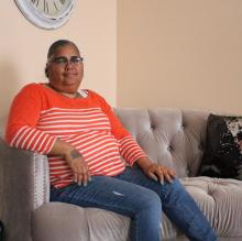 Ramona Hieye in her living room at her home in North Philadelphia. Photo: Vanessa Davila
