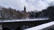 Vista de la universidad de Glasgow, una de las más antiguas de Reino Unido, después de la grannevada de finales de febrero de 2018. Foto: Andrea Rodés